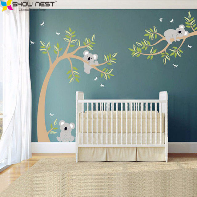 Koala And Branch Wall Sticker Tree Decal With Dragonflies Bear For Baby Nursery Kids Children Room