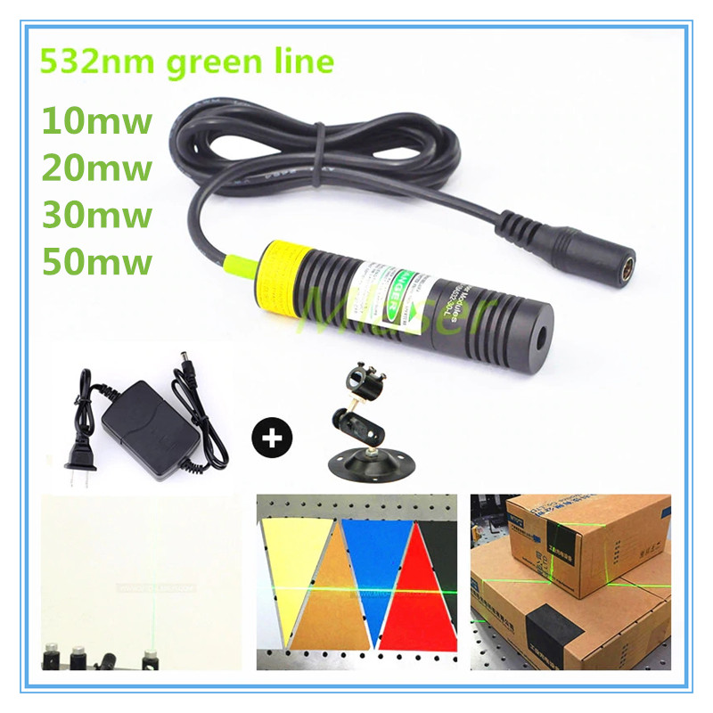 D18mm  532nm 10mw 20mw 30mw 50mw Laser Line Module For Clothes Cutting / Wood Cutting Mechanical Positioning