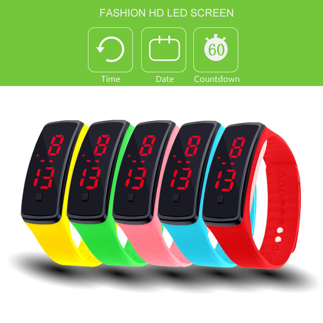 Fashion 11 color Men women red led watches Silicone Women's Bracelet led watch L