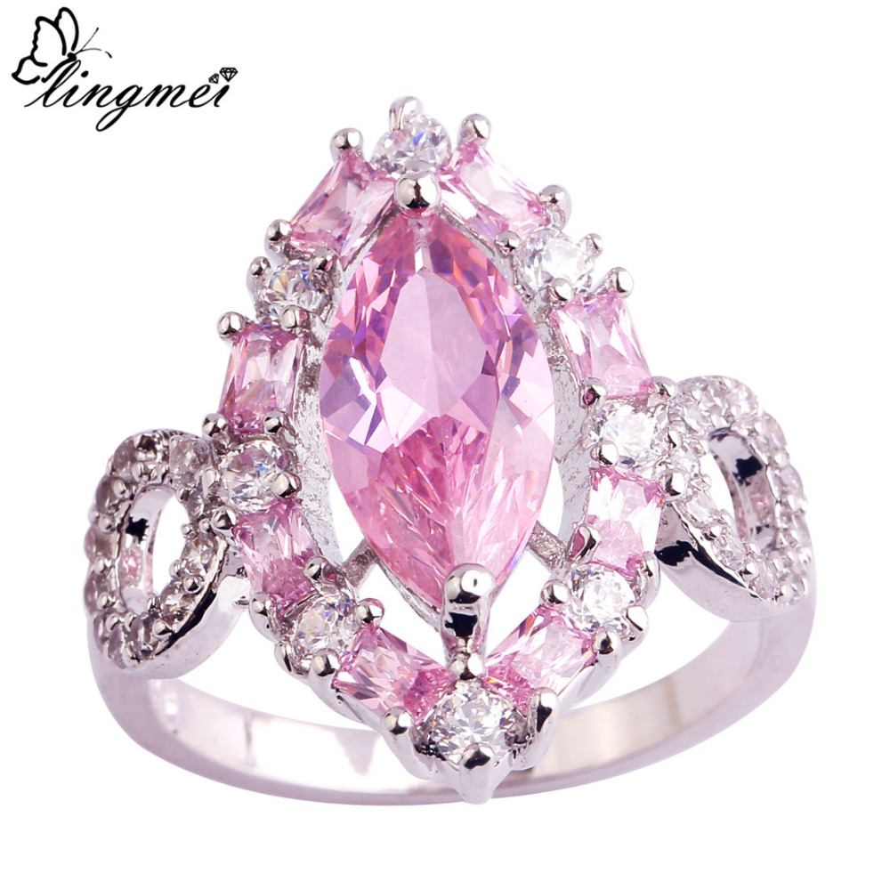 lingmei Flower Cluster Jewelry Wedding Party Rings Pink CZ Silver ...