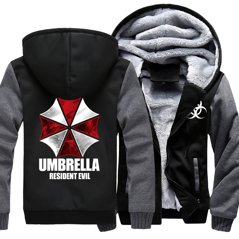 Hot Game Resident Evil Umbrella Corporation Logo Printing Mens Zipper Hoodie Fleece Thicken Jacket Sweatshirt Coat Drop Ship