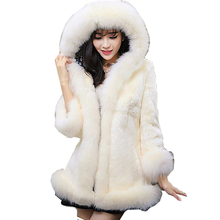 2016 Large size women's winter Long hooded Coat Leather grass thick warm Autumn and winter Women's faux fur coat