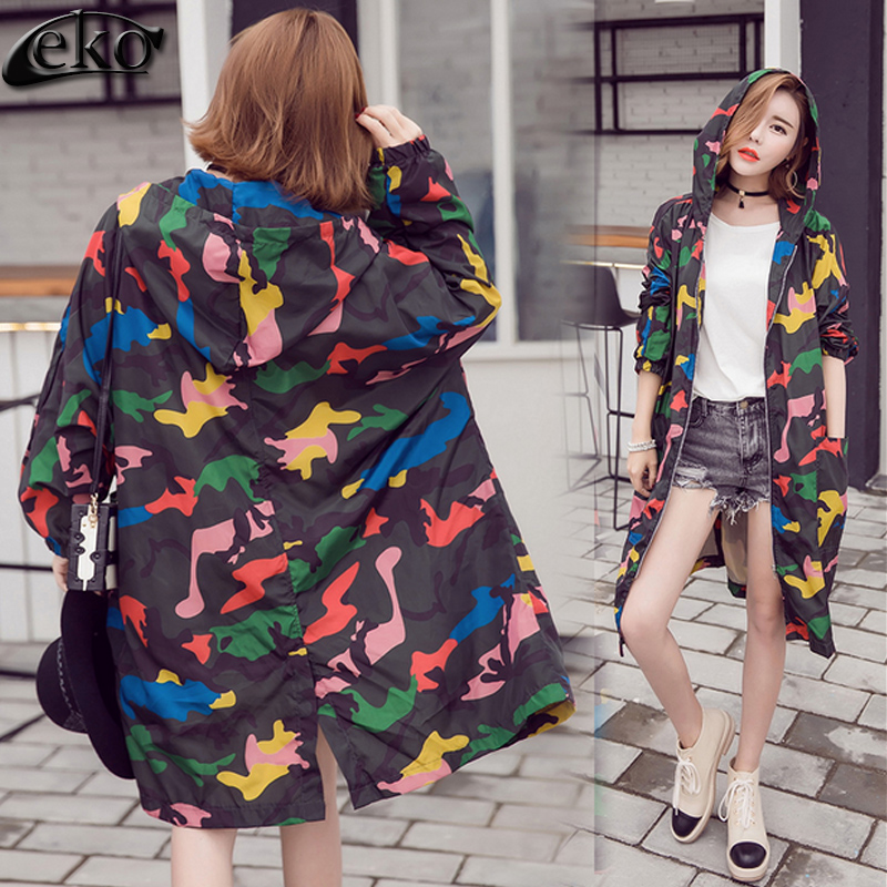 2016 Fashion Brand Camouflage Printed   Trench   Coat Women Oversized Long Sleeve Pockets Women's Outwear Long   Trench   Coat for Women