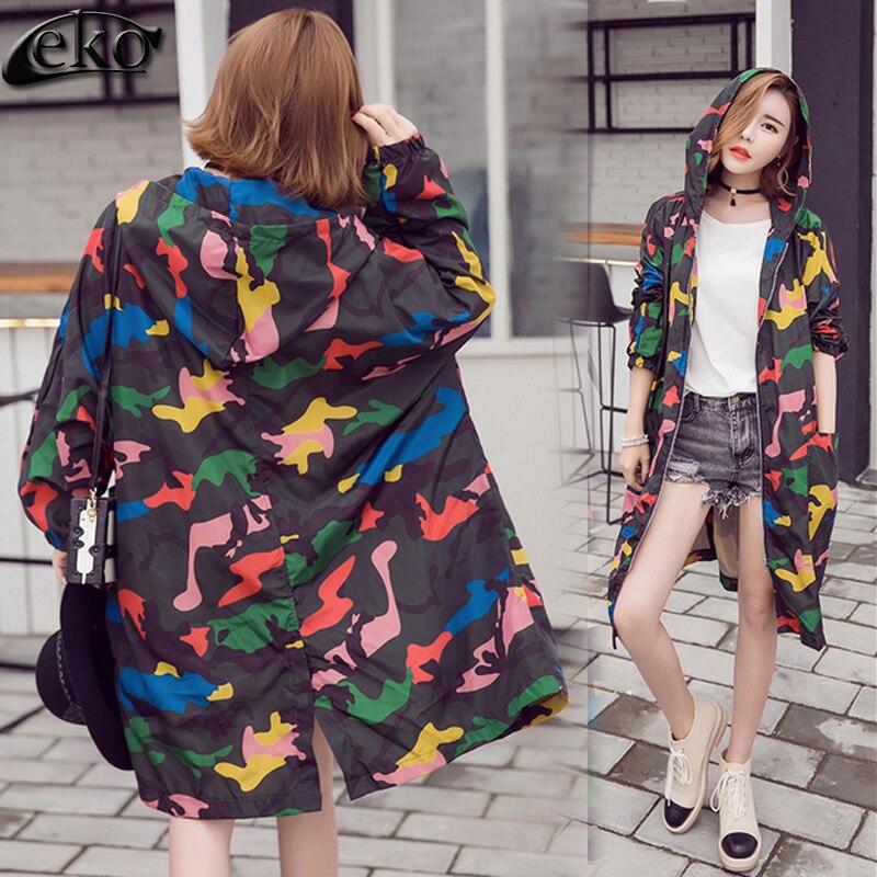 2863a38c2a0c9 2016 Marca de Moda Camuflagem Impresso Mulheres Oversized Manga Comprida  Bolsos do Casaco de Trincheira das Mulheres Outwear Longo Casaco para As  Mulheres