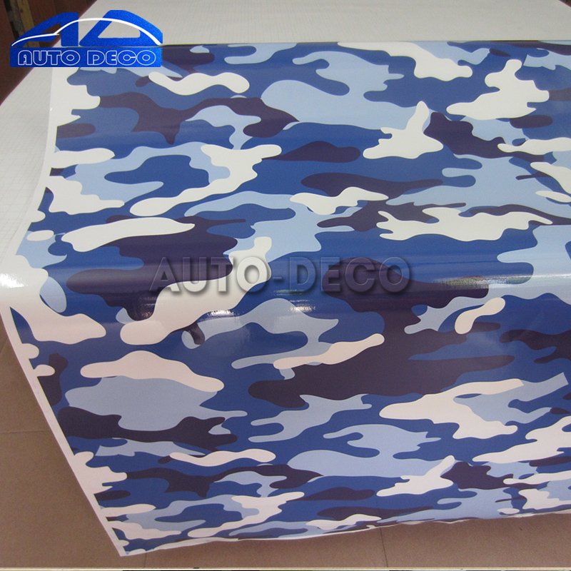 Blue Jumbo Camo Car Scooter Vinyl Wrap Urban Sticker Bomb Camouflage Printed Graphics Pvc Material Roll Sheet
