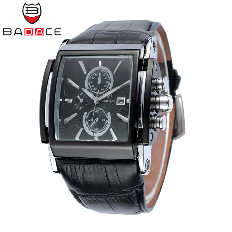 BADACE  Fashion Men Quartz Watches Leather Strap Luxury Clock Square Top Brand Wristwatch Casual Business Mans Watch Hour 2098 2017 men xinge brand business simple quartz watches luxury casual leather strap clock dress male vintage style watch xg1087