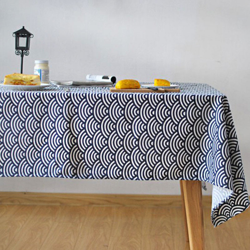 Japanese Style Linen Table Cloth Waves Print Multifunctional Rectangle  Tablecloth Shooting Background Cloth Home Decoration In Tablecloths From  Home ...