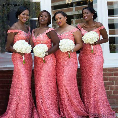 2019 South African Arabic Coral   Bridesmaid     Dress   Summer Country Garden Formal Wedding Party Guest Maid of Honor Gown Plus Size