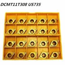 20 pçs carboneto inserir dcmt11t308 dcmt32.52 us735 ferramenta de torneamento interno dcmt 11t308 end fresa torno ferramenta cnc