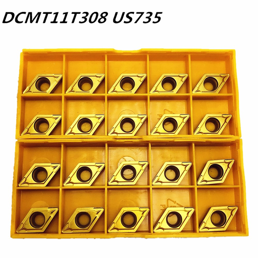 20PCS Carbide Insert DCMT11T308 DCMT32.52 US735 Internal Turning Tool DCMT 11T308 End Milling Cutter Lathe Tool CNC Tool