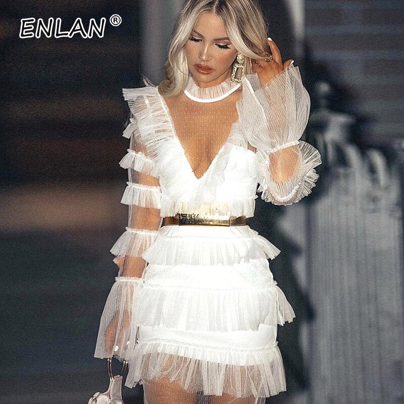 Robes de piste 2019 femmes de haute qualité voir si Flare manches courtes fée volants robe Sexy noir blanc maille robe transparente