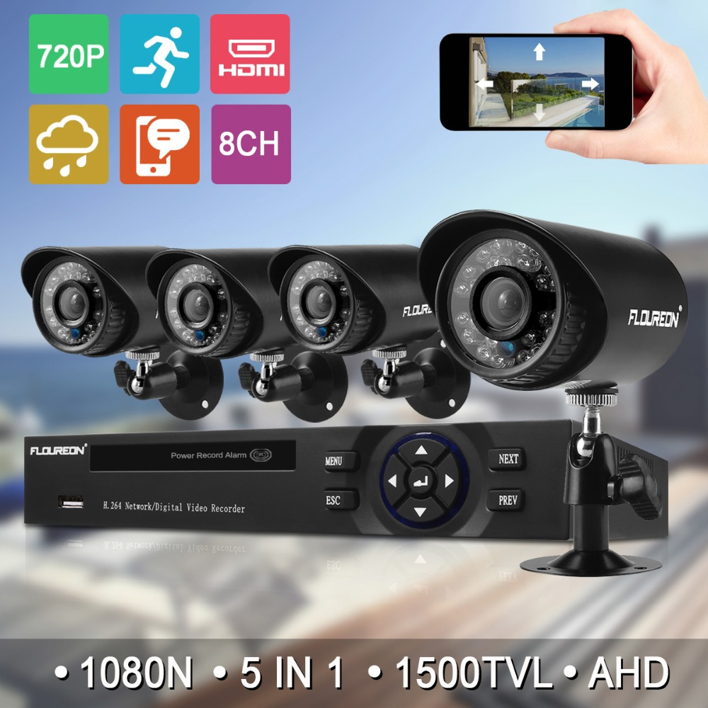 FLOUREON 8CH 1080N 5IN1 HDMI CCTV AHD DVR 4 pcs 1500TVL