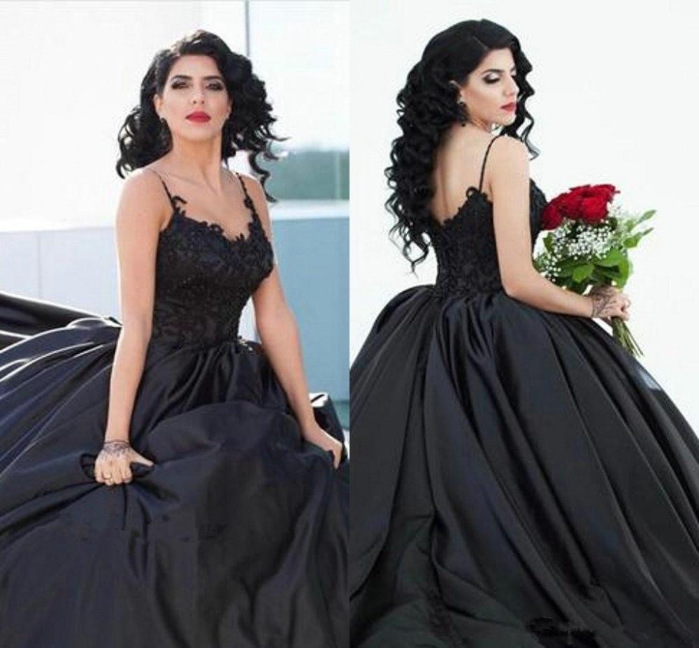 Black Designer Wedding Gowns: Gothic Black Wedding Dresses Spaghetti Straps Lace