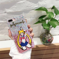Luxe Fashion Sailor Moon Zachte TPU Glitter Casees Voor iPhone 7 7 Plus Leuke Beschermende Shell Smart Telefoon Tassen Coque Funda