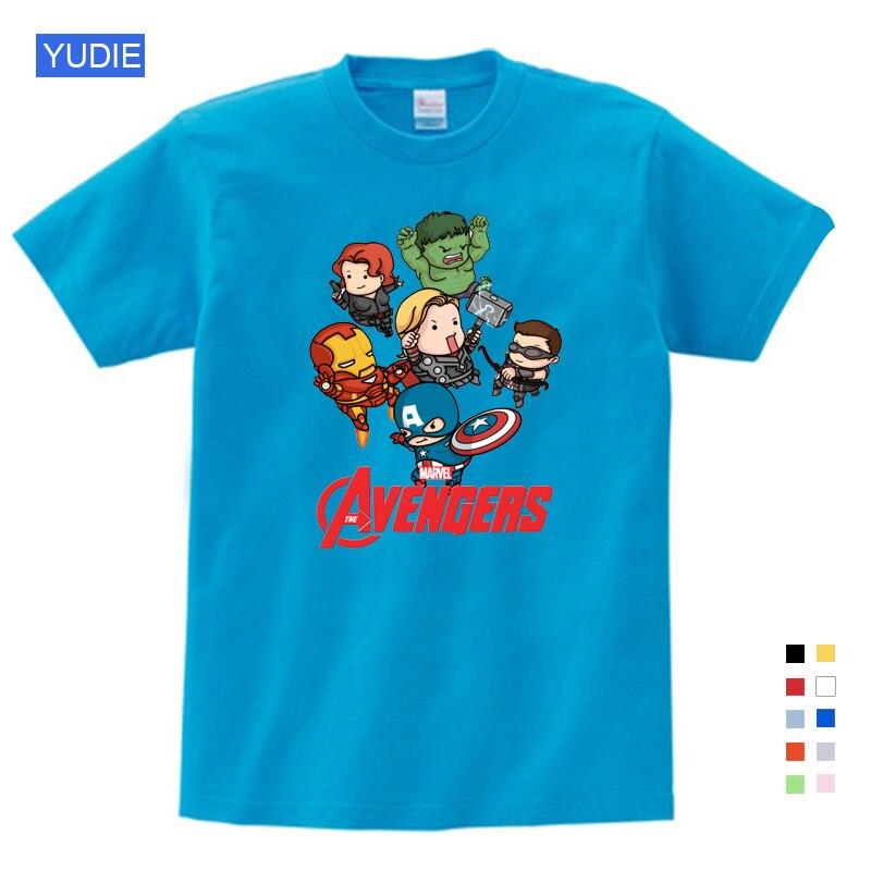 O Envio gratuito de 2019 T-shirt Superman/Batman/spider Man/captain America/Hulk/Iron Man/T camisa Das Meninas do Menino T-shirt Impressão YUDIE