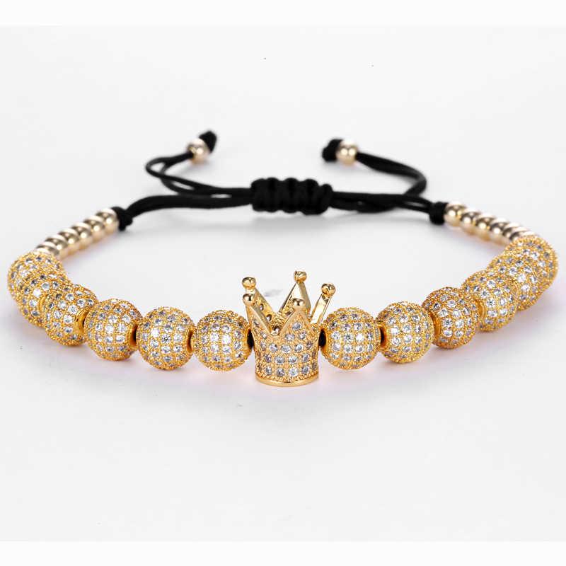 MCLLROY bransoletka mody mężczyźni Micro Pave biały CZ korona Charm okrągłe koraliki Macrame pleciona bransoletki i bransolety dla mężczyzn femme biżuteria