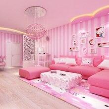 Современная комната обои домашний декор розовые полосы обои для девочек спальня обои для детской комнаты рулон вертикальные полосатые обои