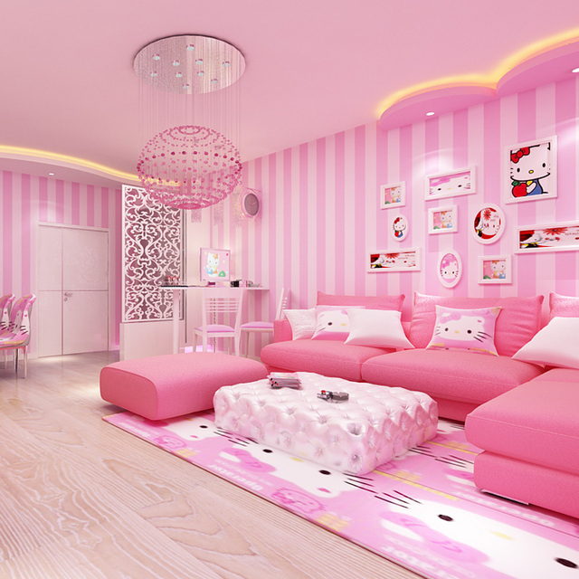 Moderne Kamer Behang Interieur Roze Strip Behang voor Meisjes ...