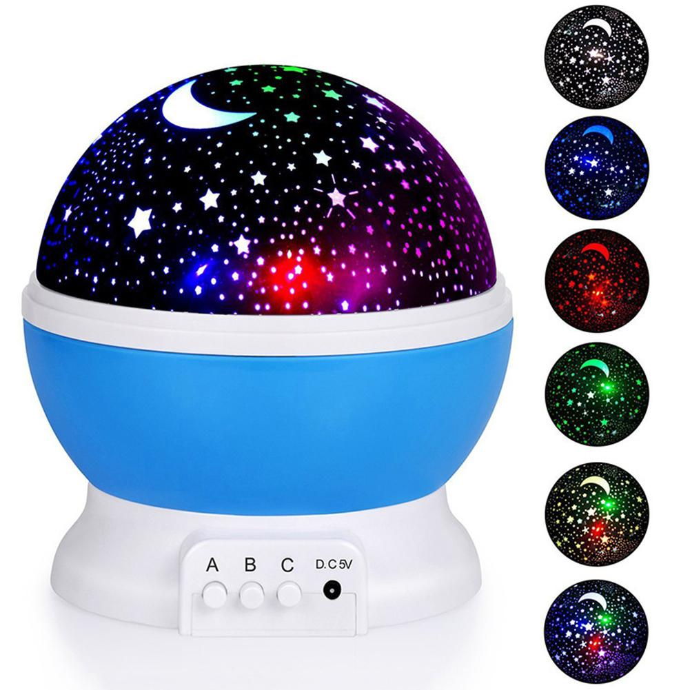 Star Projector Moon Lamp Starry Sky Rotating Battery USB Bedroom Night Light Fashion