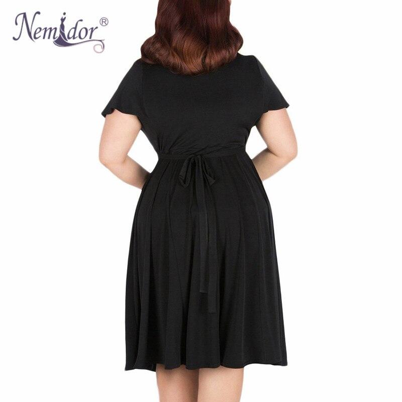 Nemidor Women Sexy V-neck Short Sleeve 50s Party A-line Dress Vintage Stretchy Midi Plus Size 7XL 8XL 9XL Cocktail Swing Dress 4
