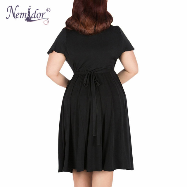Women V-neck Short Sleeve 50s Party A-line Dress Vintage Stretchy Midi Plus Size 7XL 8XL 9XL 4