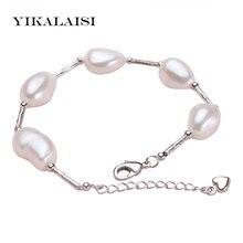 Yikalaisi 10 11 мм 100% натуральный жемчуг браслет для женщин