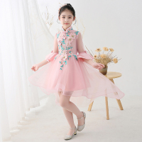Pink girls birthday princess dress fluffy yarn children's Chinese style catwalk evening dress