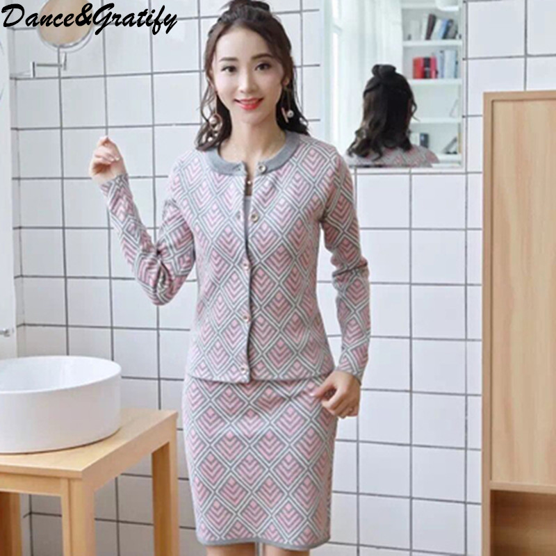 New Fashion Plaid Sweater 2 Two Piece Set Women Casual Single Breasted Knitting Cardigans Cropped Slim Bodycon Skirt Suit