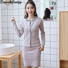 New Fashion Plaid Sweater 2 Two Piece Set Women Casual Single Breasted Knitting Cardigans Cropped Slim Bodycon Skirt Suit(China)