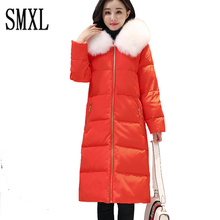 smxl Plush collar 2017 thick New White Duck Down Coat Stand Warm Slim Zipper Women Parka x-long Light Down Jacket sonw outwear