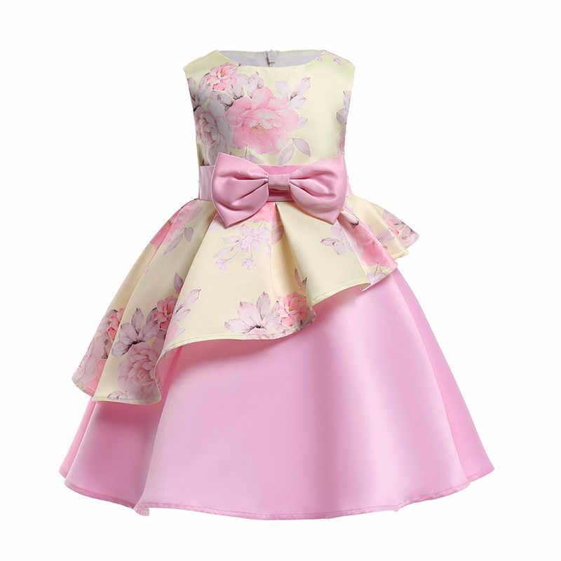 Vì vậy, Tuyệt Đẹp Bé Gái Rất Đẹp Cơ Thể Không Thường Xuyên Wedding Dresses Floral Printed Trẻ Em của Cô Gái Mùa Hè Bên Trang Phục Chính Thức