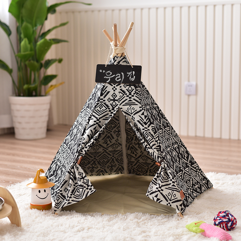 Black Canvas Dog Teepee House Tent Tipi Chien