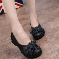 2017 Women Retro Flowers Shoes Flat Heel Leather Shoes Handmade National Wind Grain Leather Soft Soled