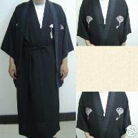 Black Hot Selling Vintage Japanese Men's Kimono Evening Dress Yukata Flowers one size