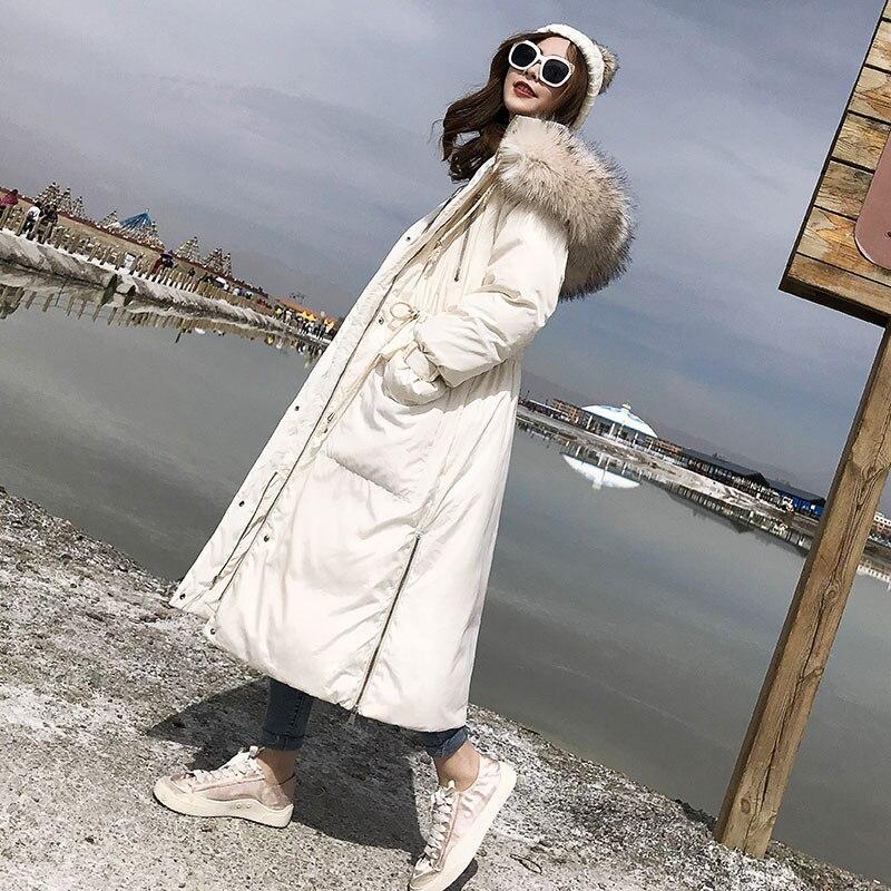 Gray Dark Grand Femmes Nouvelle Col Survêtement De Fourrure White Et Hiver Rembourré Coton Femelle Droite creamy Lâche Yy096 Long Plus Épais Coréenne Veste xHw8EdqdR