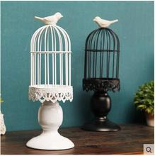 European-style antique iron art decorative birdcage candlestick for wedding decoration