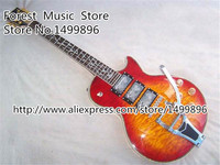 Top Selling Classical Cherry Burst Luscious Quilted Three Pickups LP Custom Electric Guitar China Body Kits