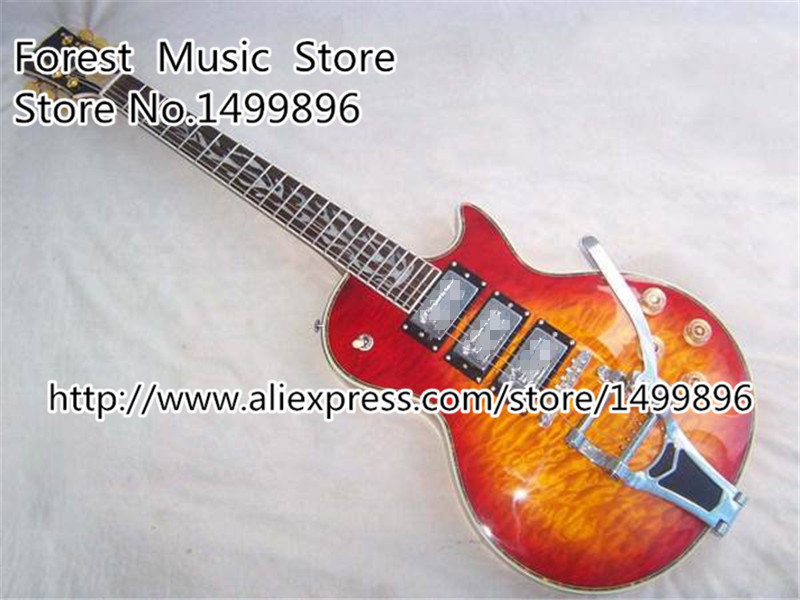 Classical Cherry Sunburst Luscious Quilted LP Custom Electric Guitar China Body Kits Available high quality custom shop lp jazz hollow body electric guitar vibrato system rosewood fingerboard mahogany body guitar