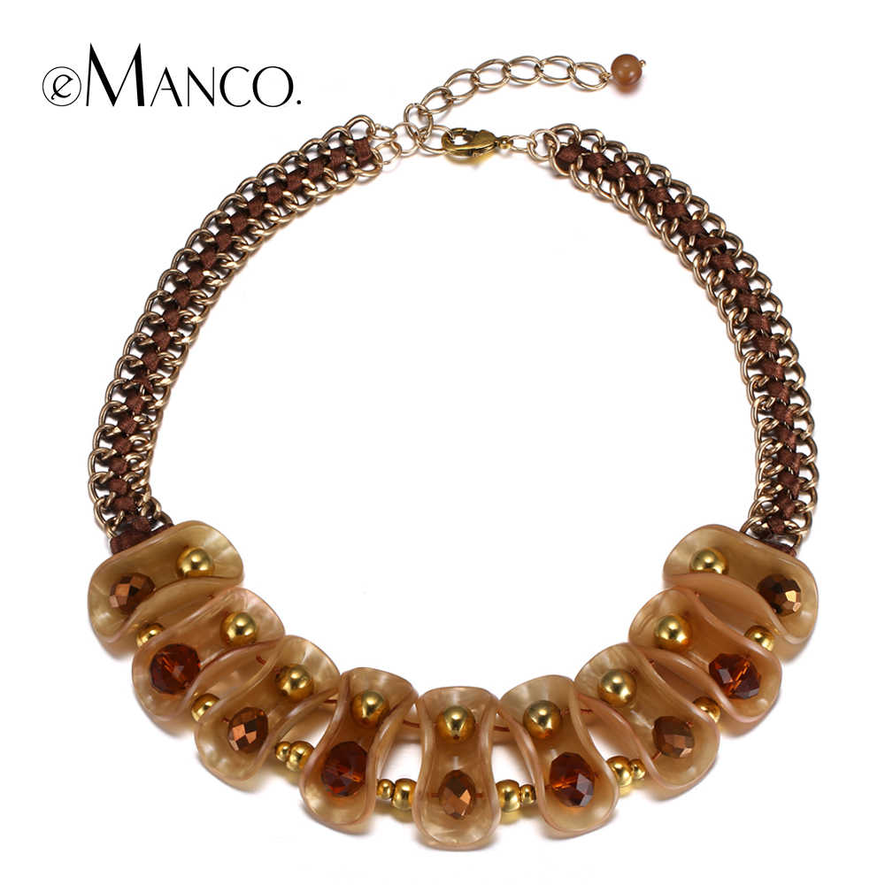 eManco acrylic beads choker necklace multilayer chain crystal bead coffee short statement necklaces for women bisuteria mujer