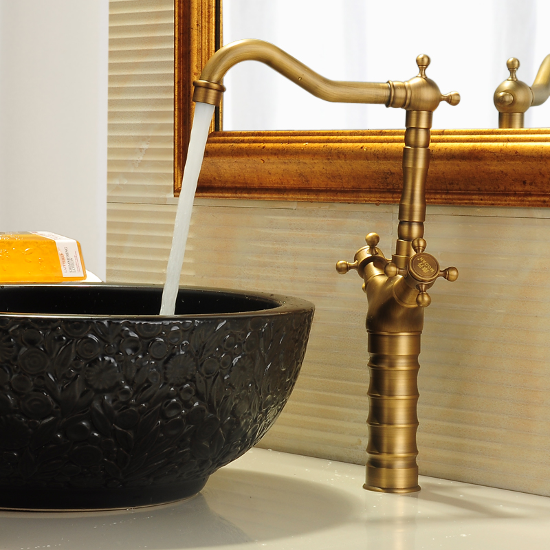Bathroom vintage bronze Brushed sink basin faucet Deck Mounted brass tap torneira banheiro Crane mixer Hot and Cold water faucet