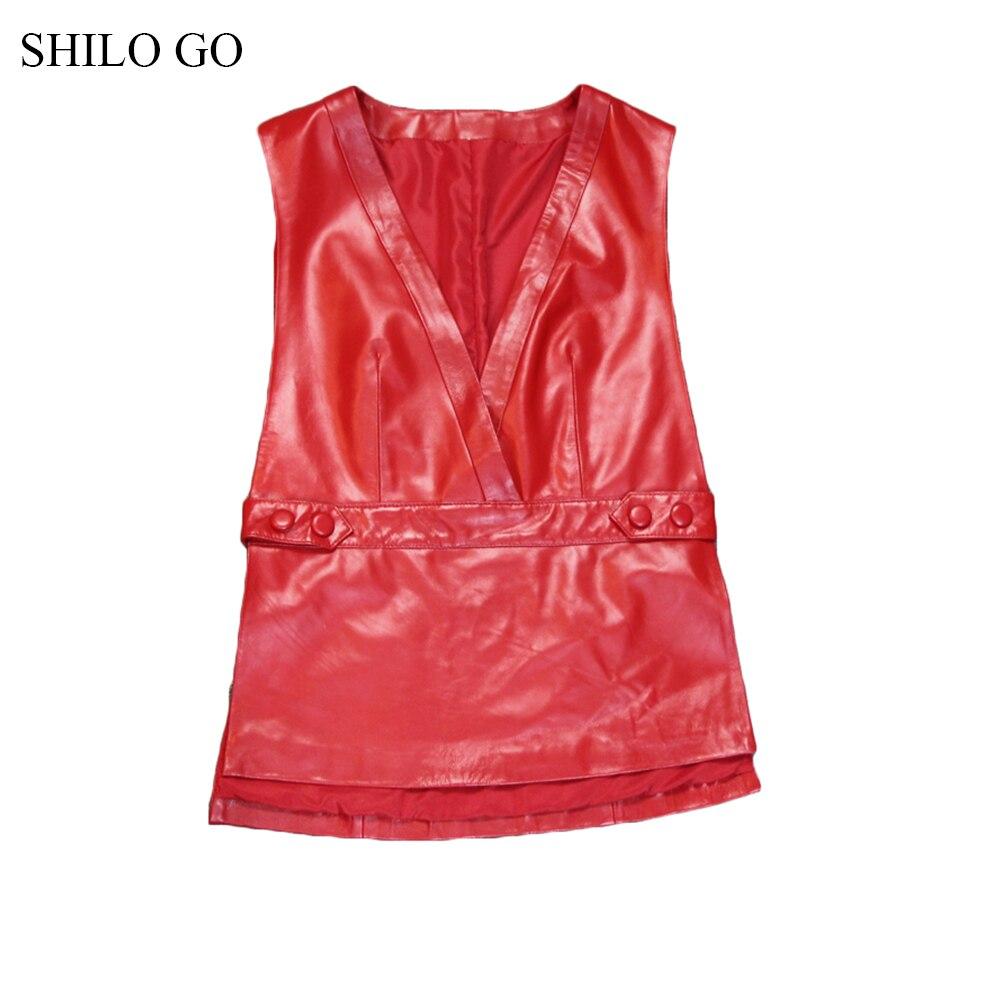 Side V Aller Causal Lady Cuir Peau Femmes Bouton Shilo Mode En Véritable De Mouton Rouge Gilet Office Printemps Neck FxqpwCOBn