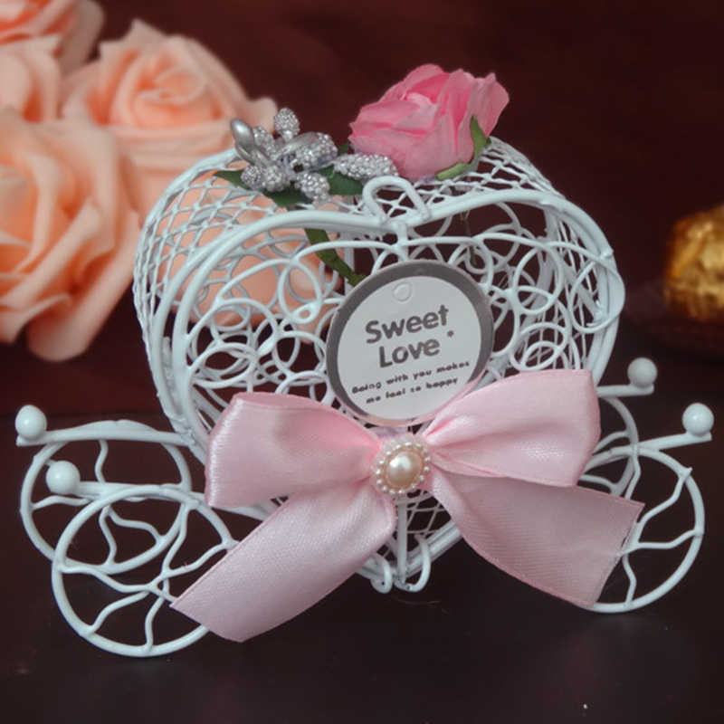 Creat Luxury Love Heart Favor Box for Wedding Birthday Party Candy box Metal carriage Chocolate Wedding Party Gift