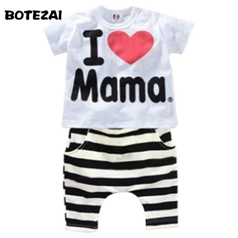 Retail 1set! 2017 Children Clothing Summer Set boys girls I Love Papa and Mama short sleeve t-shirt+pants suit kids pajamas set