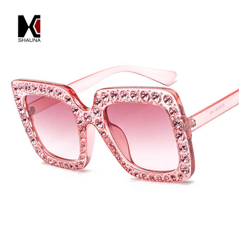 38640e138f97 ... SHAUNA Luxury Crystal Decoration Oversize Frame Women Square Sunglasses  Fashion Ladies Gradient Lens Glasses UV400