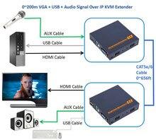 Бесплатная доставка zy-dt206ckm 200 м VGA USB удлинитель по ip-сети CAT5E/6 HD 1080 P клавиатура Мышь KVM удлинитель с стерео аудио