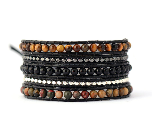 Mens Beaded Bracelet Mixed Natural Stones Multilayer Wrap Bracelets Bohemia Weaving Inspirational Dropship