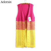 Aelorxin 2017 הסתיו הארוך קרדיגן נשים סוודר צבע הדרגתי טוויסט סרוג אפודות צווארון V Feminino מגשר למשוך Femme