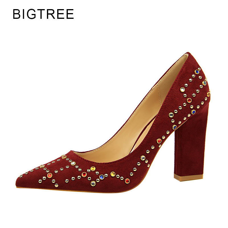 Bigtree Color Crystal Party High Heels 2018 Spring New Women Shoes Flock Pointed Toe Shallow Female Pumps Red Wine Green Size 39 moonmeek new arrive spring summer female pumps high heels pointed toe thin heel shallow party wedding flock pumps women shoes
