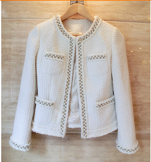Women tweed jacket 2018 runway long sleeve with pearls coat designer high quality elegant formal coat
