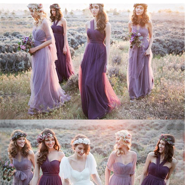 Robe De Soiree 2017 New Vestidos De Novia Multiway Dress Purple Lavender Bridesmaid Dresses Beautiful Vintage Vestido De Festa